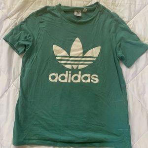 Teal Adidas Trefoil logo tshirt